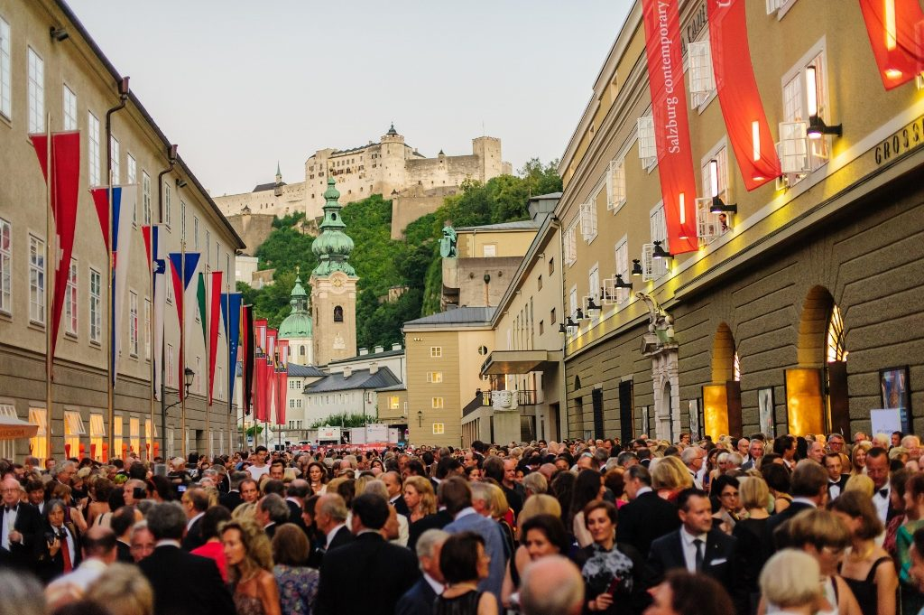 audience in front of the festival hall, Salzburg Festival