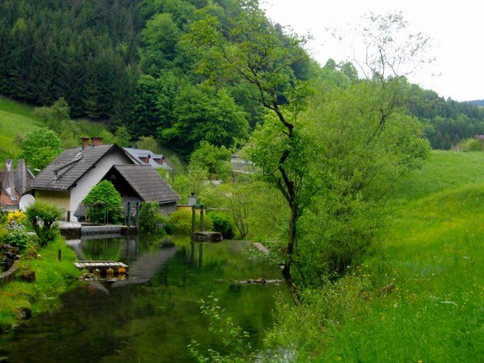 house in green landscape at Danube region