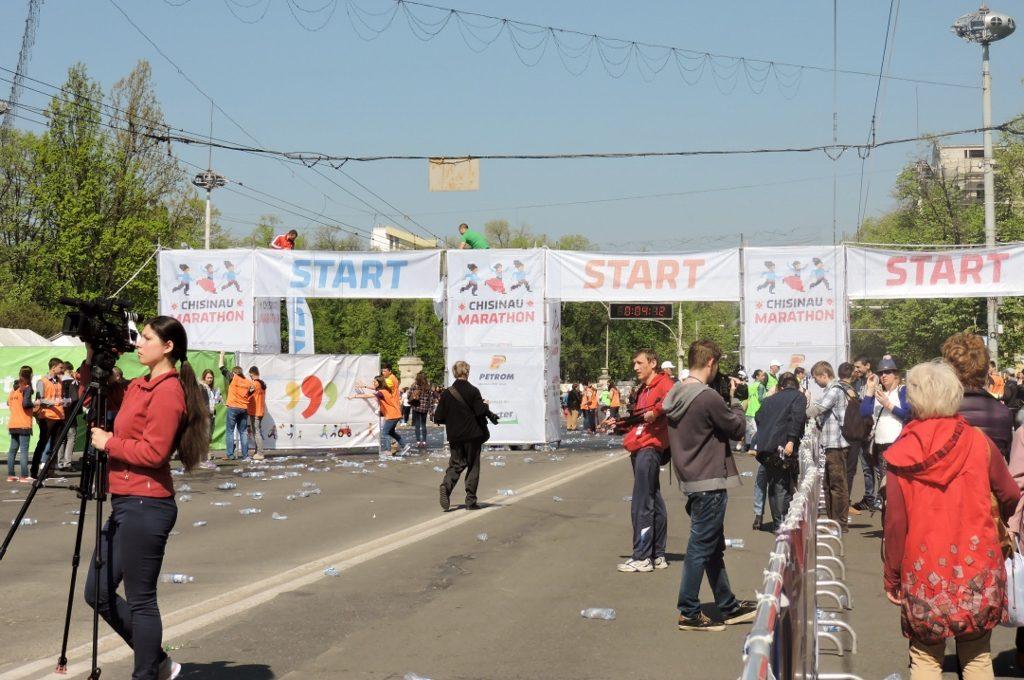Ziel des Marathon-Laufs in Chisinau (Kishnev)