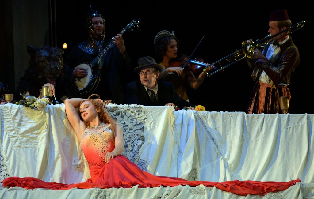 """on the stage of the play """"Jedermann"""", tradition meets modernity Salzburg"""
