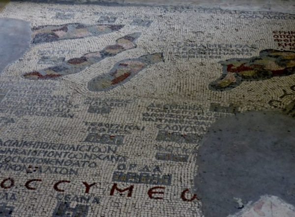 das Boden-Mosaik in Madaba, Jordanien
