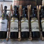 Weinflaschen in einem Ständer