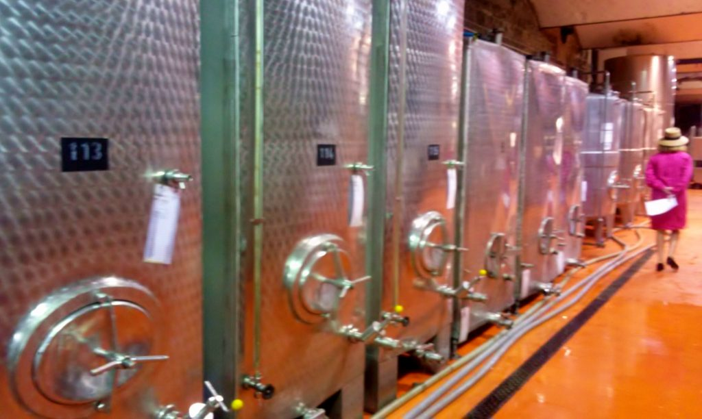 Stahltanks für Wein in Kellerei, Weinherbst in Melnik