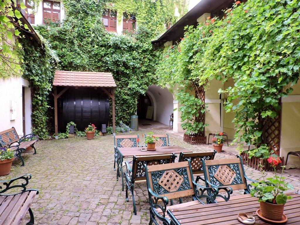 Gastgarten im Weinort Melnik