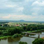 Blick auf Fluss bei Melnik Tschechien