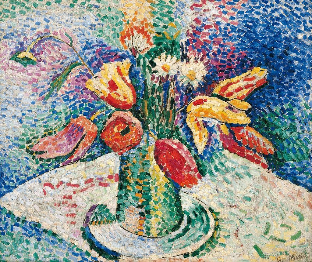 Blumenvase, Pointillismus Kunst