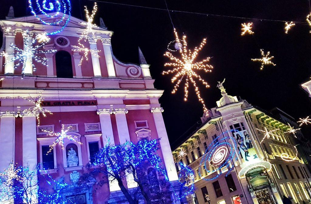 weihnachtliche Beleuchtung von Ljubljana