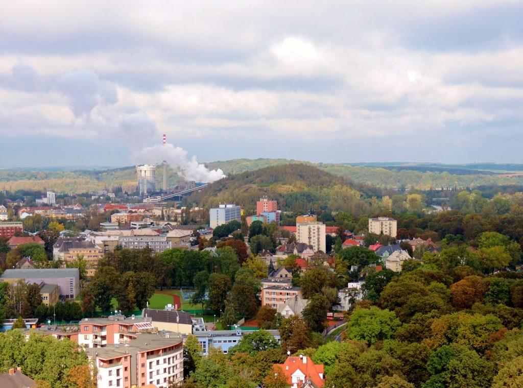 Blick von oben auf die Stadt Ostrava, Tschechien