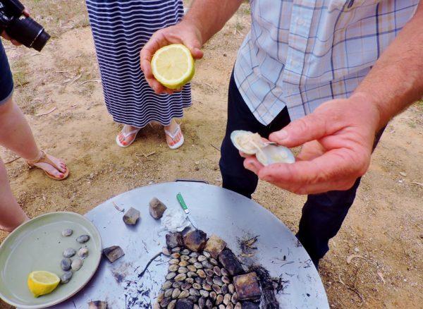 Muschelessen im Freien