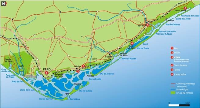 Karte einer Küste