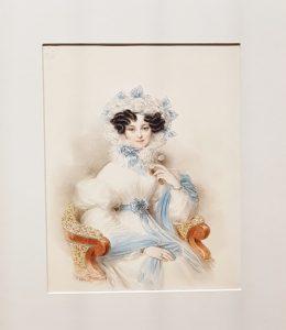altes Frauen-Portrait Aquarell