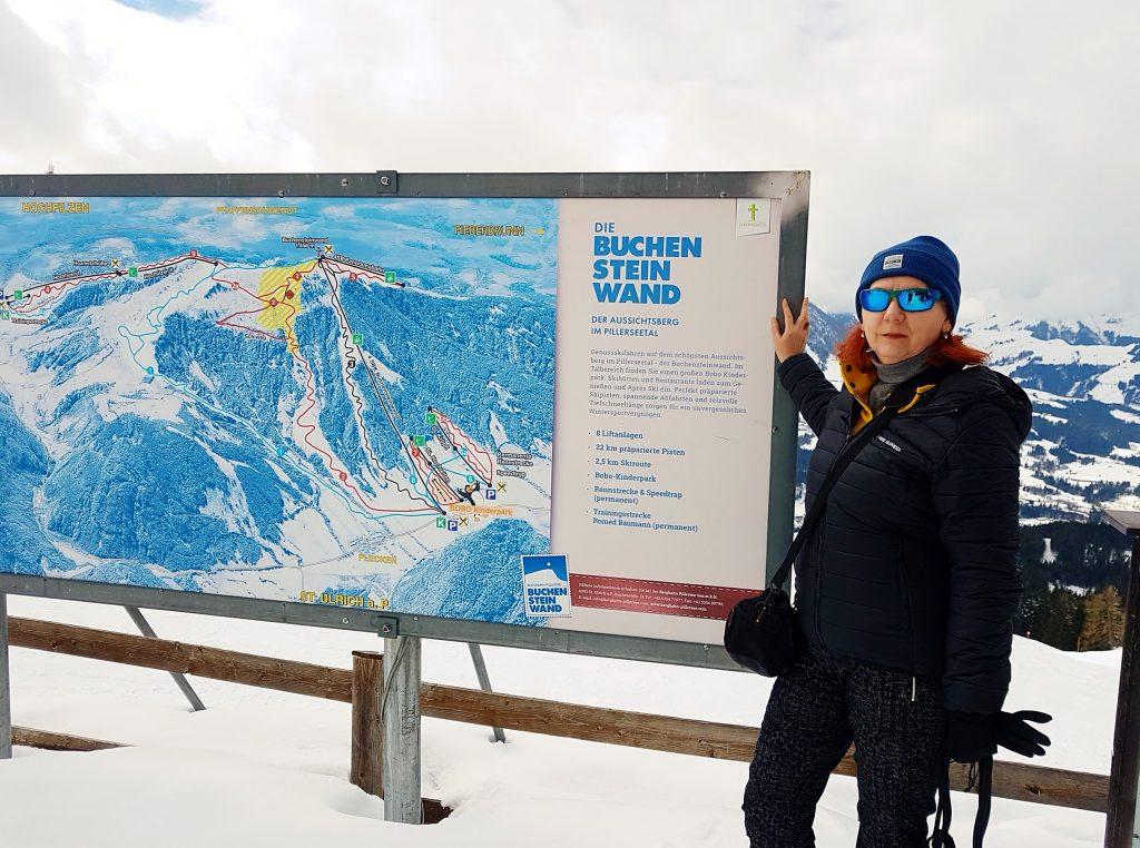 Tafel für Skigebiet Pillerseetal