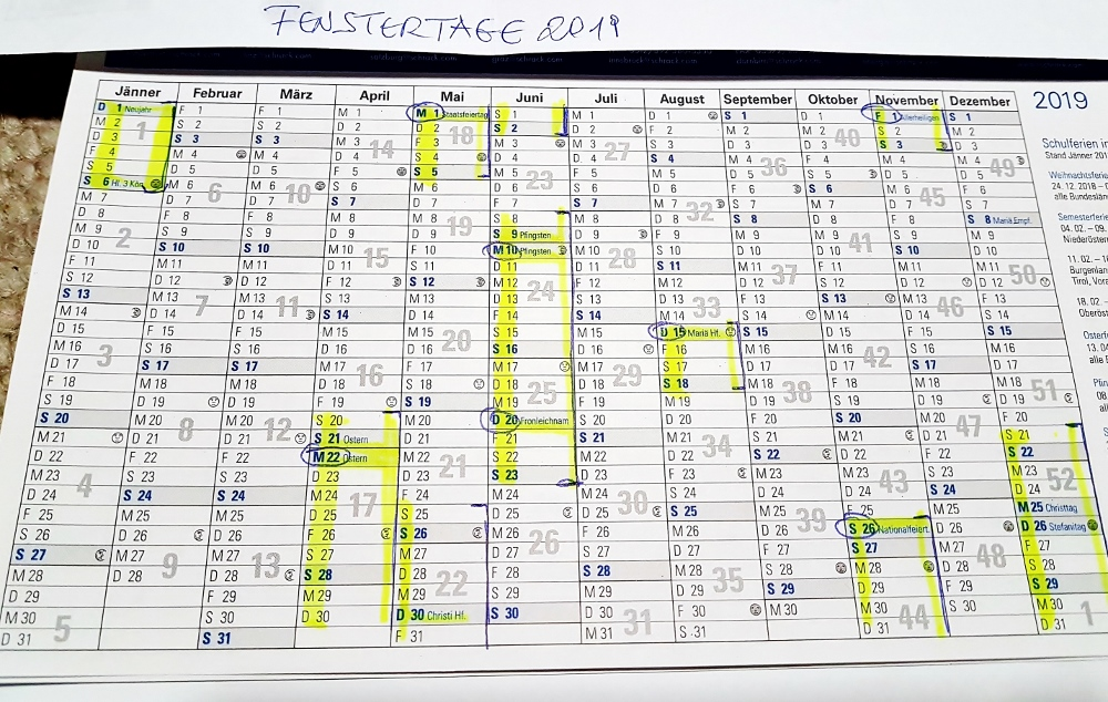 Kalender mit Fenstertage 2019