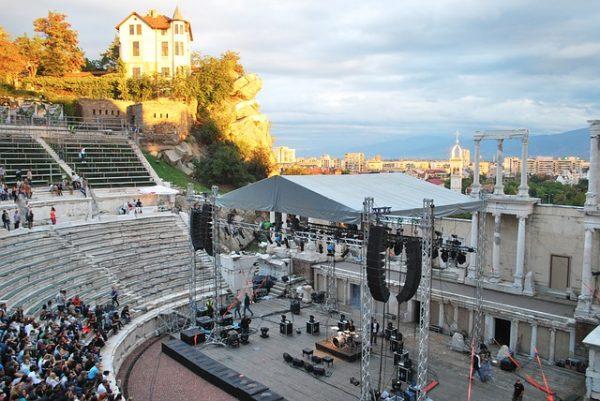 Antikes Theater Plovdiv mit Blick auf Bühne