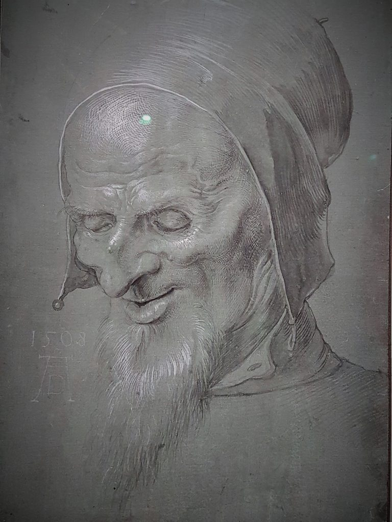 Zeichnung mit Portrait eines alten Mannes