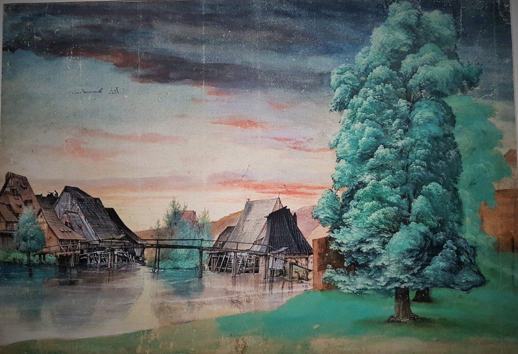 altes Aquarell mit einer Mühle