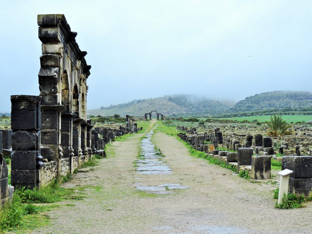 antike Straße in Ruinenanlage Volubilis