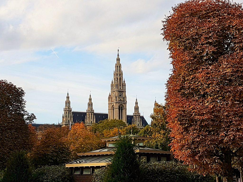 Wiener Rathaus vom Volksgarten Wien aus gesehen