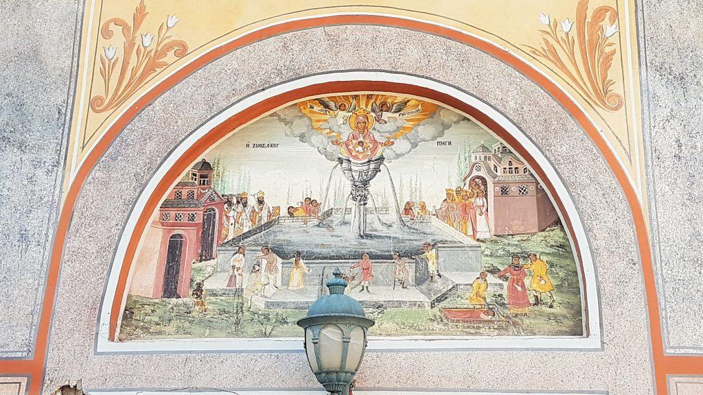 bulgarische Fresken über einem Eingang