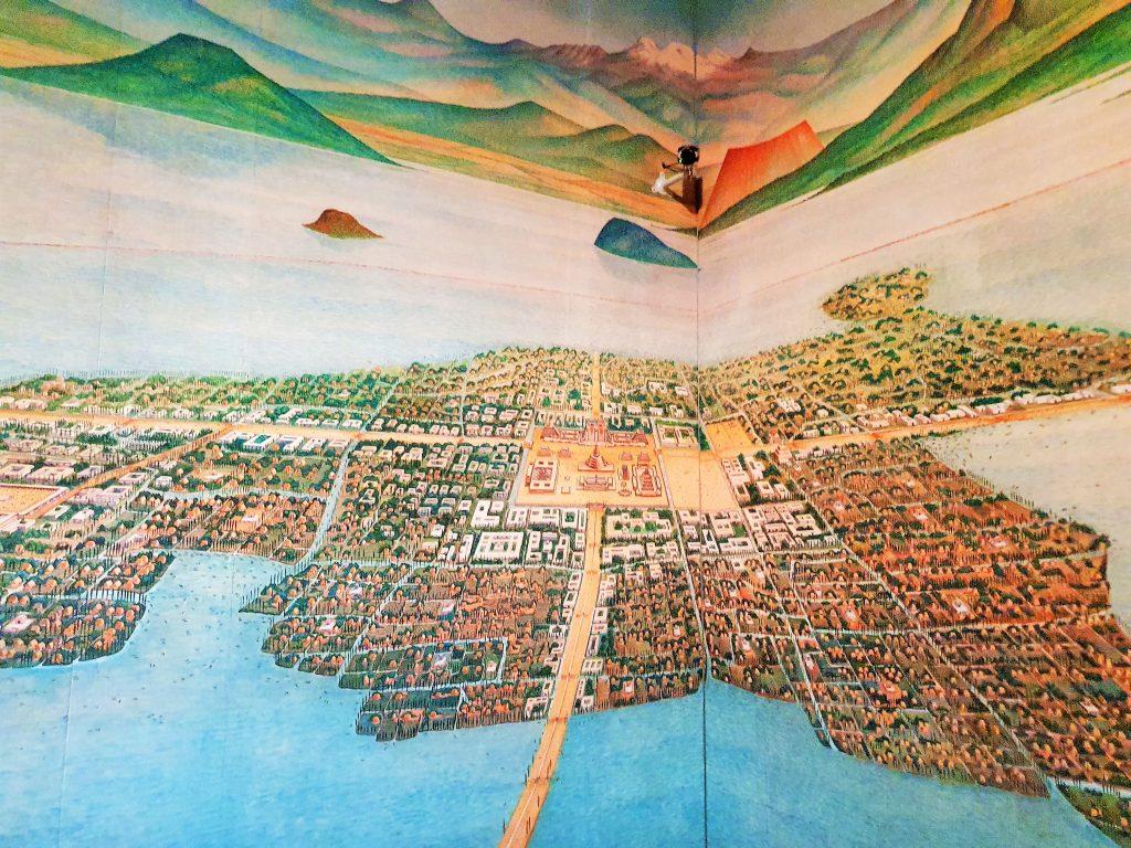 Abbildung der historischen Asteken Stadt Tenochtitlan