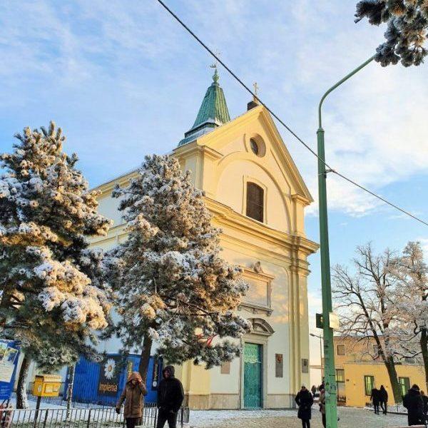 Kirche auf dem Leopoldsberg Wien im Winter