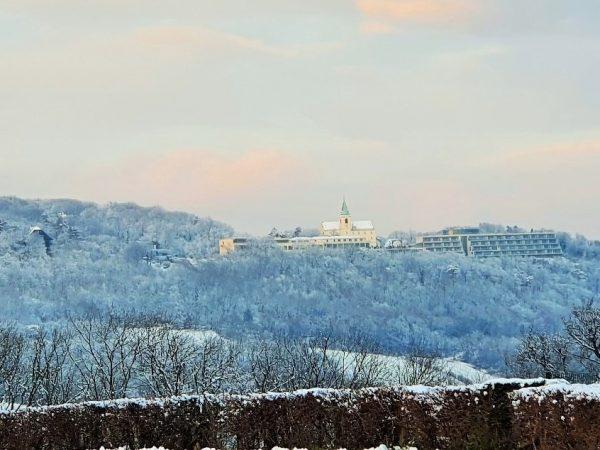 Leopoldsberg Winter Ausflugsziel verschneit