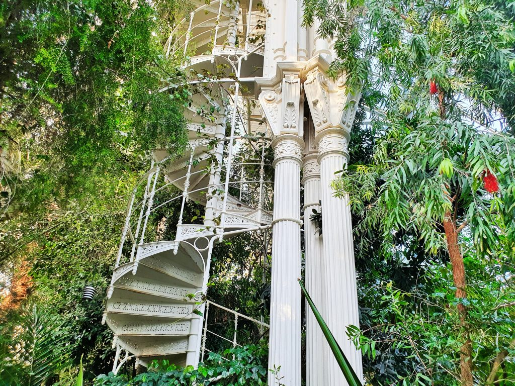 eine schmale weiße Treppe führt durch üppige Pflanzen