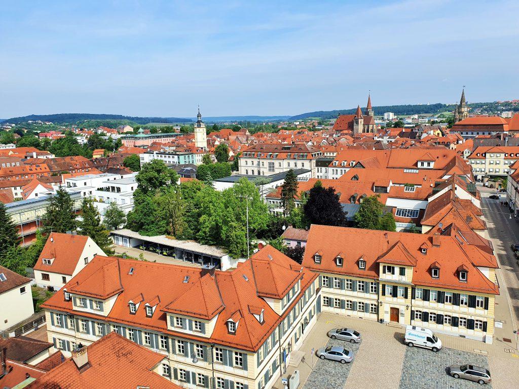 Blick von oben auf die Altstadt von Ansbach
