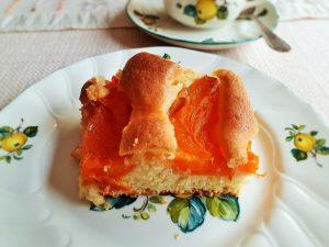 Marillenkuchen einfach zubereitet, auf Teller angerichtet